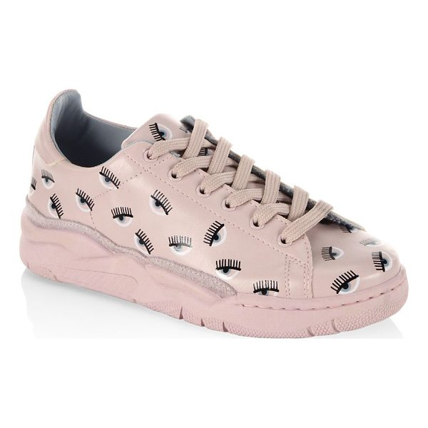 CHIARA FERRAGNI eye leather sneakers - Round toe sneakers with an allover print design. Leather...