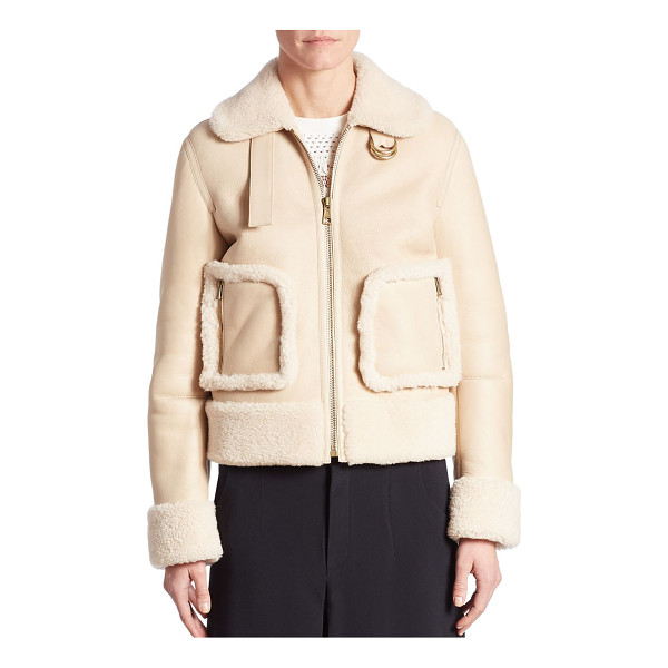 CHLOE cropped shearling jacket - Shearling trimmed jacket in zip-front style. Fold-over...