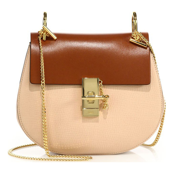 CHLOE Drew small colorblock leather saddle crossbody bag - A modern twist on the classic saddle bag, this compact,...