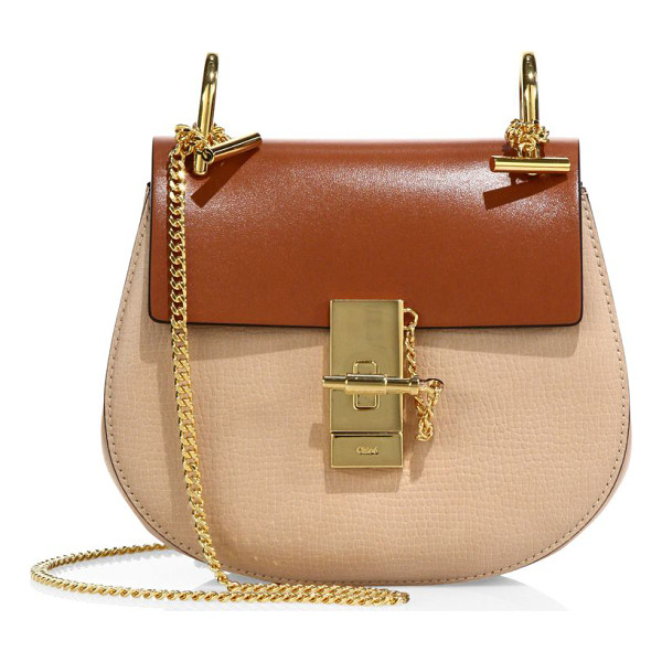 CHLOE drew mini colorblock leather saddle crossbody bag - Crafted from bicolor, dual-texture leather in Chloe's