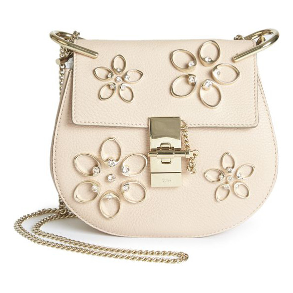 CHLOE Drew mini floral-embroidered leather saddle crossbody bag - Italian leather crossbody with shimmering floral...