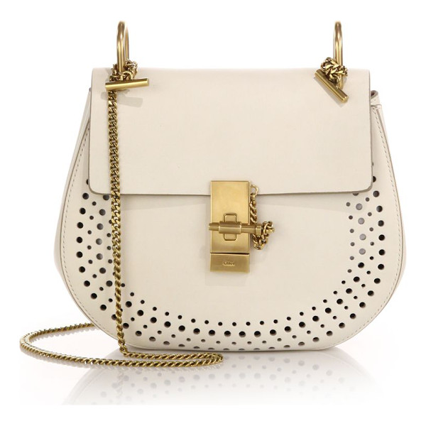 CHLOE drew small perforated leather saddle crossbody bag - A signature saddle-bag style of smooth, rich leather, this...