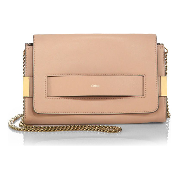 CHLOE Elle medium clutch with chain - A chic option for day or night, this leather clutch...
