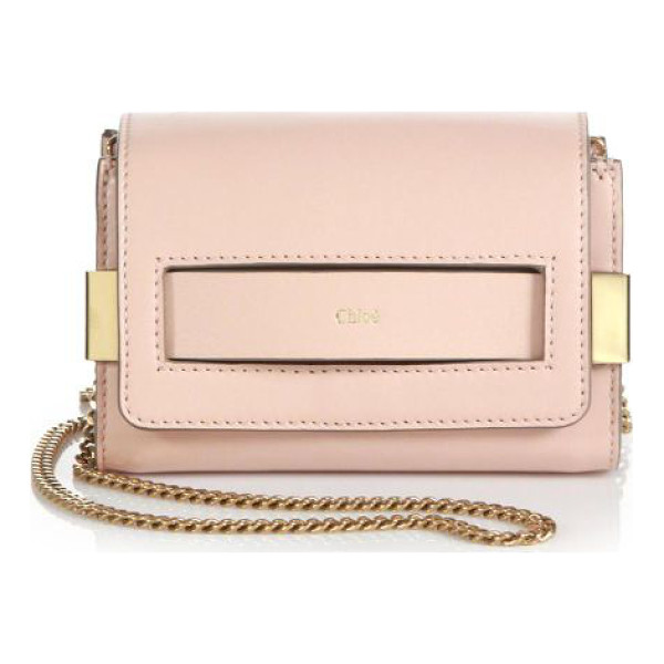 CHLOE Elle mini chain clutch - A rectangular cutout at flap reveals a curved band stamped...