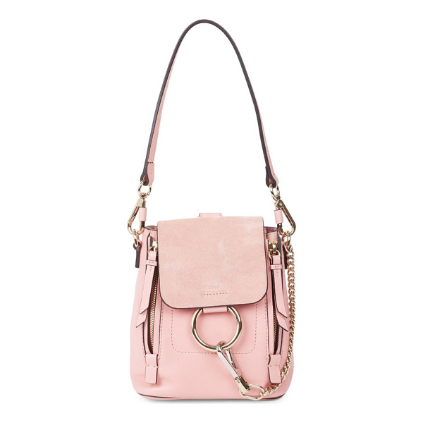 CHLOE faye leather & suede mini backpack - Modern mixed media backpack with signature hardware....