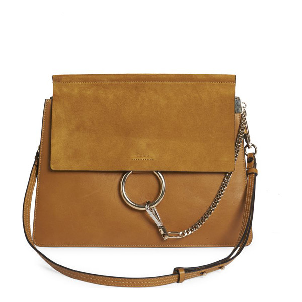CHLOE faye medium suede & leather shoulder bag - Chic suede-and-leather design with edgy hardware.
