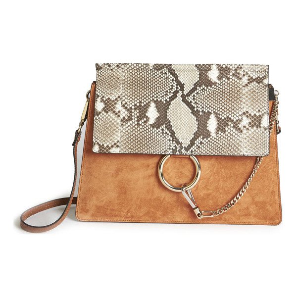 CHLOE faye medium suede & python-embossed leather shoulder bag - Buttery suede shoulder bag with exotic python-embossed