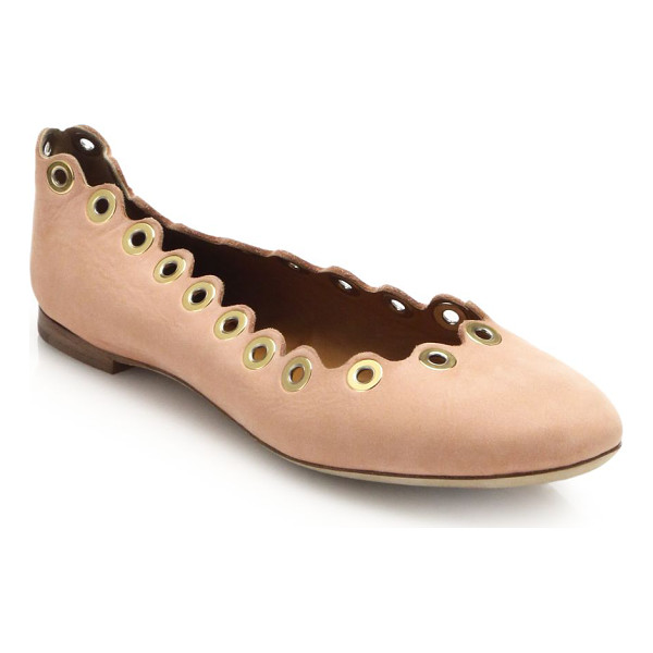 CHLOE Grommet scalloped leather ballet flats - Grommets lend just a touch of tough-luxe chic to these...