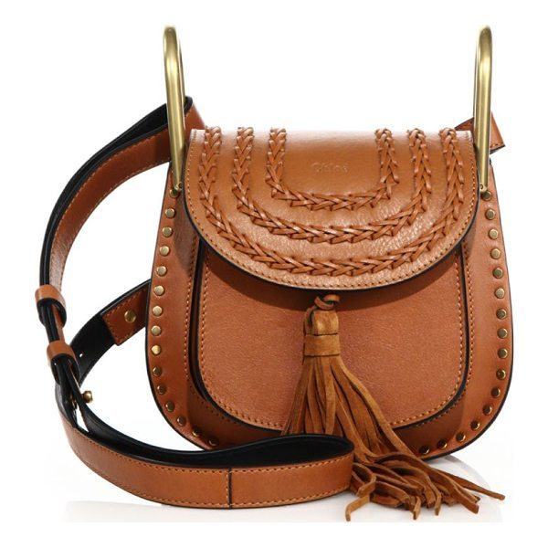 CHLOE hudson mini tasseled leather crossbody bag - Equestrian-inspired bag with tassel and topstitched flap....