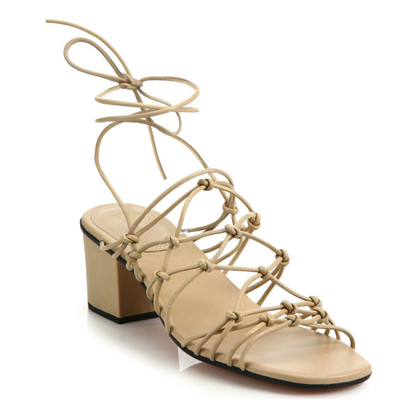 CHLOE Knotted leather lace-up block-heel sandals - Knotted leather straps wrap atop block-heel sandalCovered...