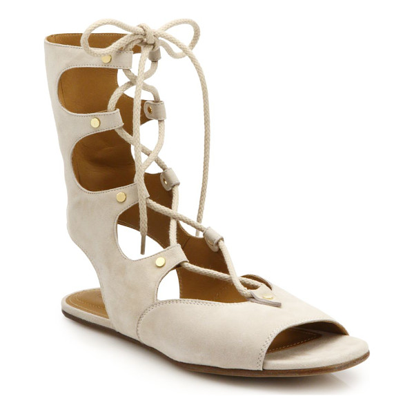 CHLOE Lace-up flat suede sandals - Crafted in a tall, lace-up silhouette from sumptuous suede,...