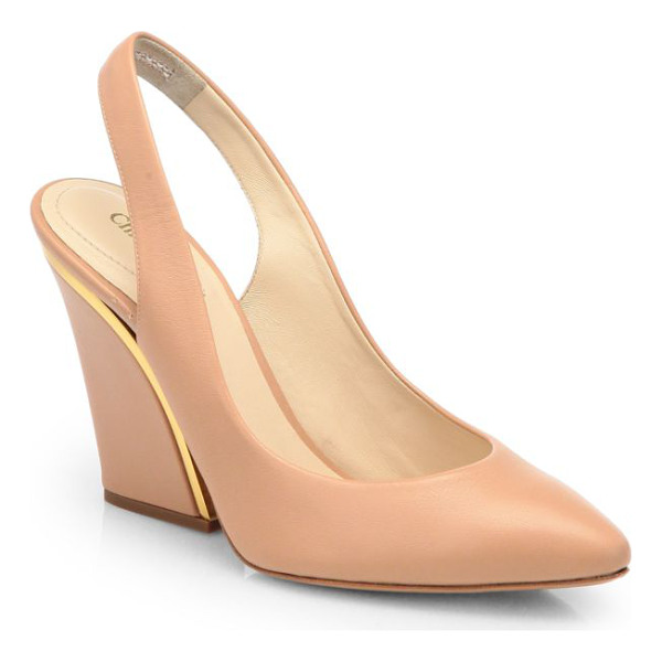 CHLOE Leather wedge slingback pumps - A sleek metal detail shines on an impeccably crafted...