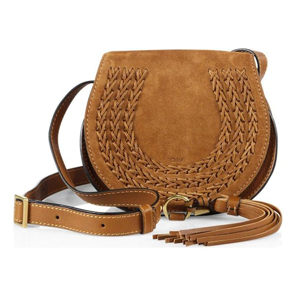 CHLOE marcie small suede saddle crossbody bag - Iconic suede saddle bag with whipstitched leather trim....