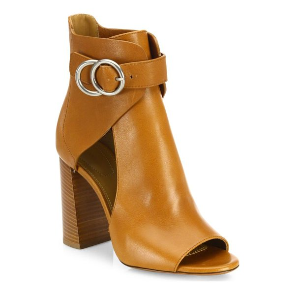 CHLOE millie cutout leather block heel booties - Sultry cutout leather peep-toe bootie with belted cuff....