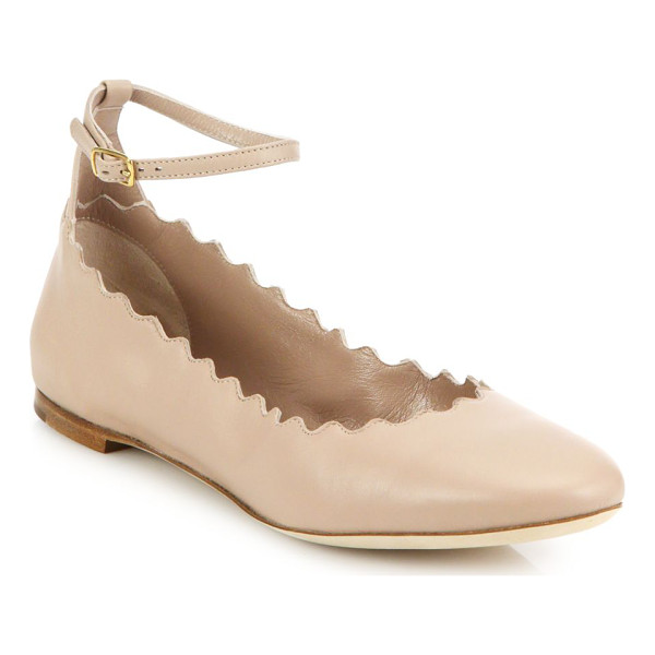 CHLOE Scalloped leather ankle-strap flats - A signature scalloped finish lends a sweet twist to these...