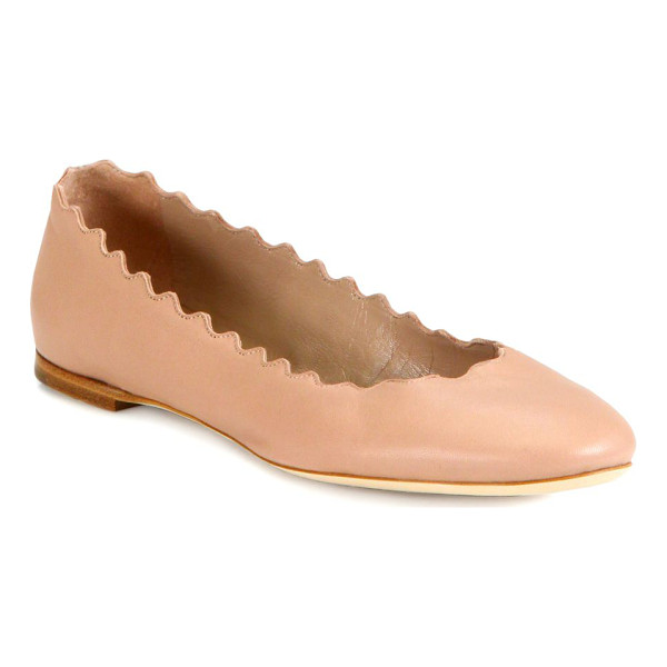 CHLOE lauren nappa ballet flats - Smooth leather flat with scalloped edge. Leather upper....