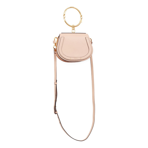 CHLOE small nile leather & suede bag - Leather and suede saddle bag with bracelet handle. Bracelet...