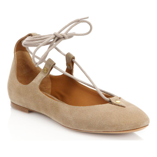 CHLOE Suede lace-up ballet flats - Trend-right lace-up flat crafted in chic suede. Suede...