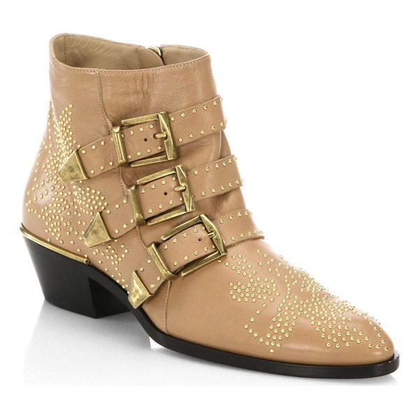 CHLOE susanna leather booties - On-trend leather booties with micro stud details. Block...