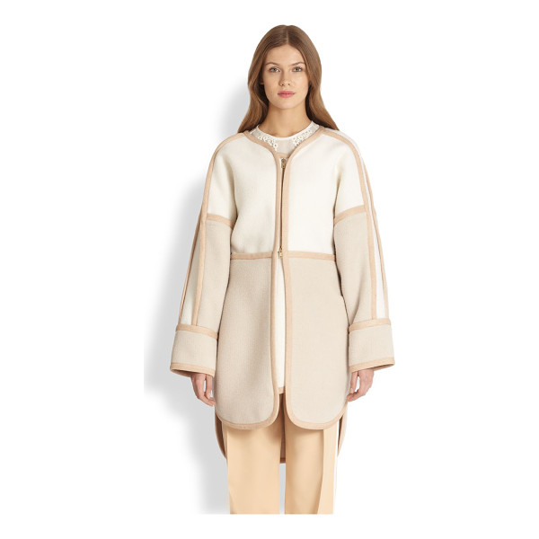CHLOE Tri-color coat - A wonderfully warm blend of alpaca and wool, tailored in a...