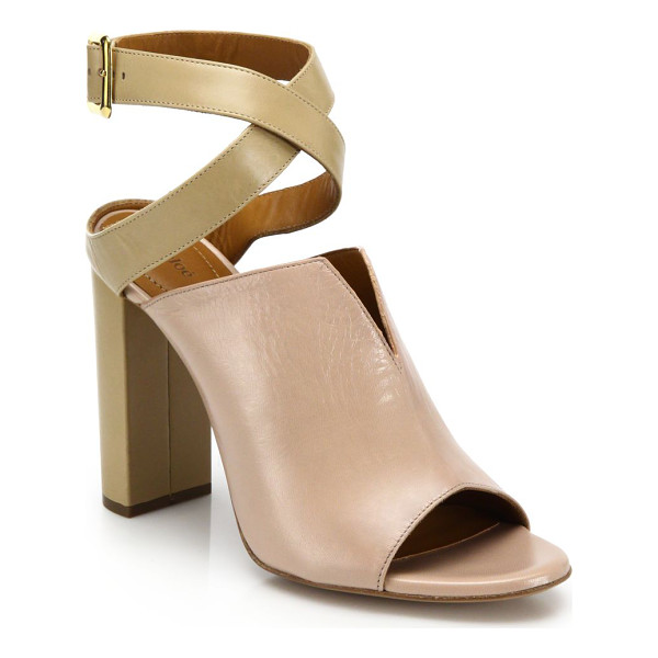 CHLOE Two-tone split leather peep-toe sandals - Femininity and street sensibility meet in this minimal-chic...