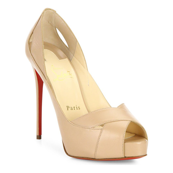 CHRISTIAN LOUBOUTIN academa 120 leather peep toe pumps - Spliced leather crisscross sandal set on sky-high heel.