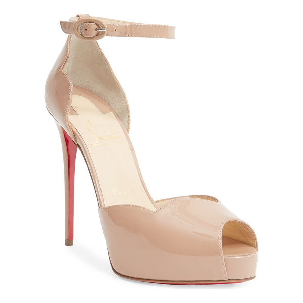CHRISTIAN LOUBOUTIN aketata 120 patent leather peep toe sandals - Towering patent peep-toe sandal with scalloped trim....