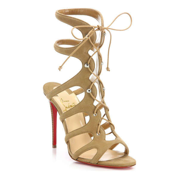CHRISTIAN LOUBOUTIN amazoulo suede lace-up sandals - Suede gladiator-style sandal with lace-up design. Stacked...