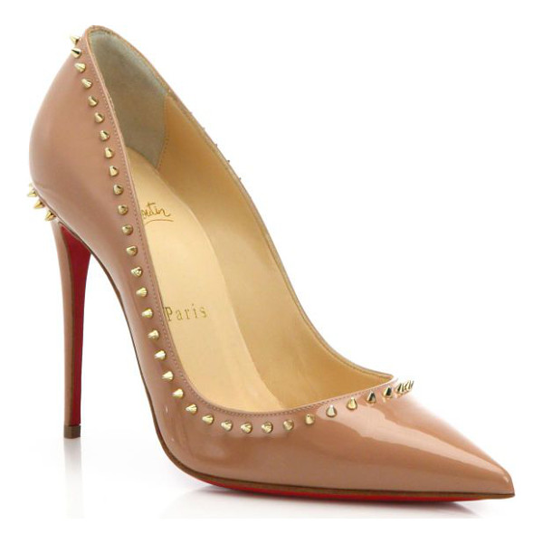 CHRISTIAN LOUBOUTIN Anjalina spiked patent leather pumps - Fiercely feminine in high-shine patent leather, this...