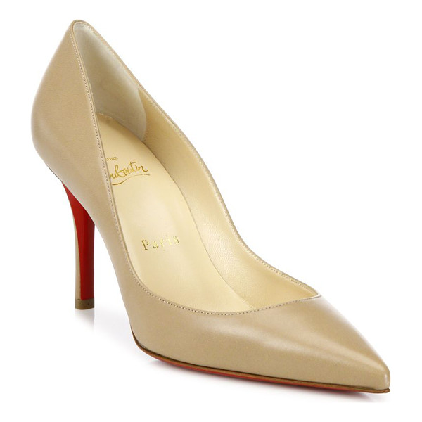 CHRISTIAN LOUBOUTIN apostrophy 85 leather point toe pumps - Timeless leather point-toe pump with curvy topline.