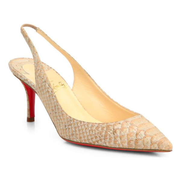 CHRISTIAN LOUBOUTIN Apostrophy snake-print cork slingback pumps - Classic pair of slingback pumps rendered in natural cork...