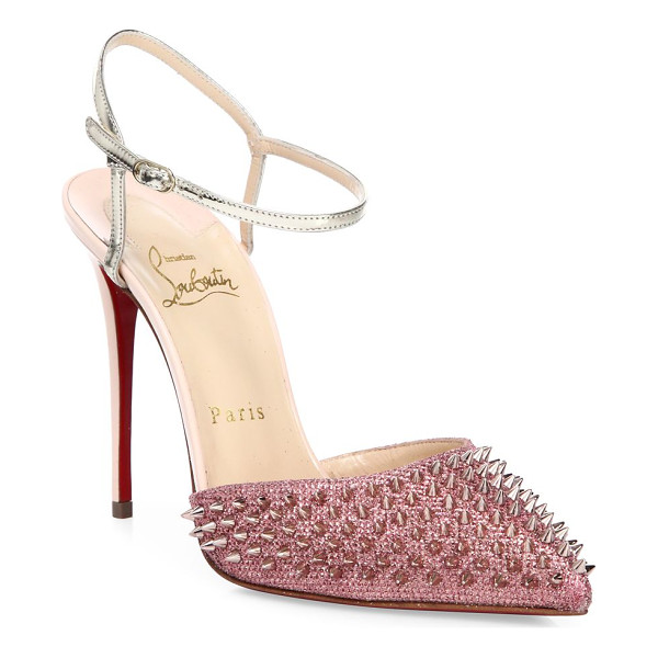 CHRISTIAN LOUBOUTIN baila spike glitter ankle-strap pumps - Spiked glitter point-toe pump with metallic ankle strap.