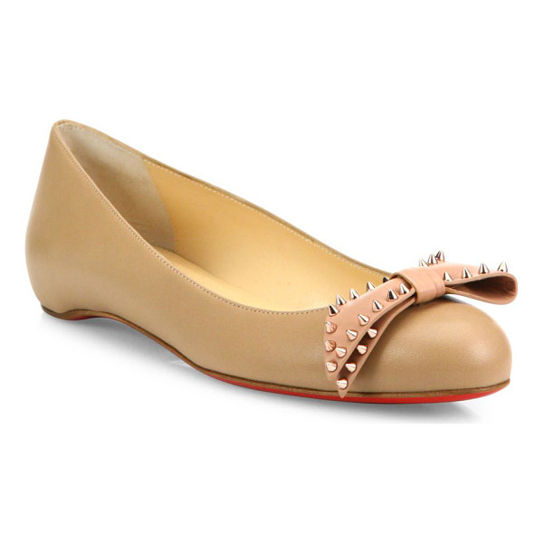 CHRISTIAN LOUBOUTIN Ballalarina studded bow leather flats - Leather round-toe flat crowned with spike-studded bow....