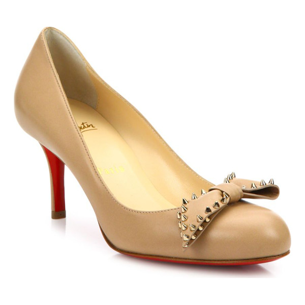 CHRISTIAN LOUBOUTIN Ballalarina studded bow leather pumps - Leather round-toe pump crowned with spike-studded bow....