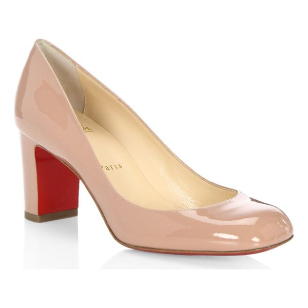 CHRISTIAN LOUBOUTIN cadrilla 70 patent leather block heel pumps - Polished square-toe pump set on walkable block heel....