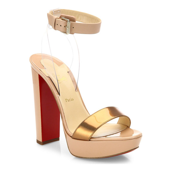 CHRISTIAN LOUBOUTIN cherry patent leather & pvc ankle-strap sandals - Sultry leather platform sandal with metallic toe band....