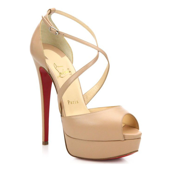 CHRISTIAN LOUBOUTIN Cross me leather platform sandals - Slender crisscrossed straps secure a distinctively sensual,...