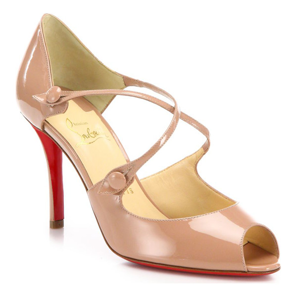 CHRISTIAN LOUBOUTIN Debriditoe patent leather sandals - Straps cross atop patent leather peep-toe...