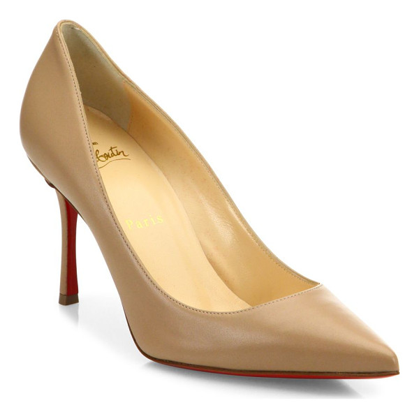 CHRISTIAN LOUBOUTIN decoltish leather point toe pumps - Polished leather point-toe pump exudes timeless appeal.