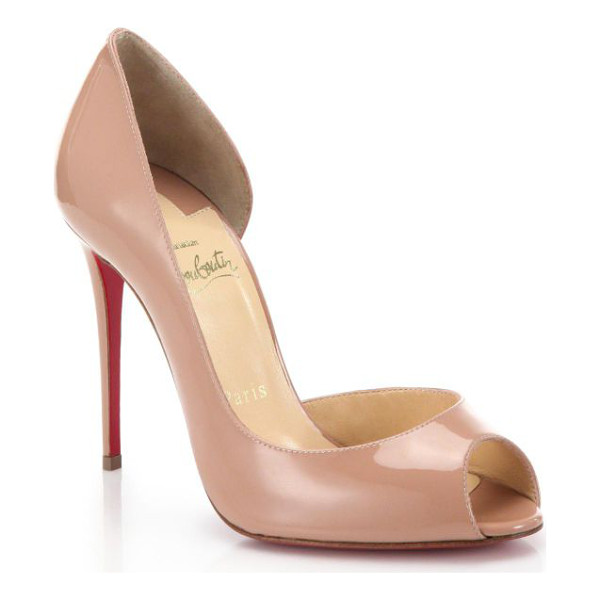 CHRISTIAN LOUBOUTIN demi you patent leather peep-toe pumps - Subtly sexy in its half d'Orsay silhouette, this patent
