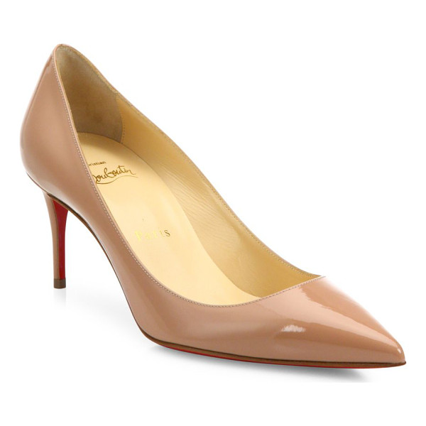 CHRISTIAN LOUBOUTIN Decollete patent leather pumps - Polished patent point-toe pump set on low, slim...