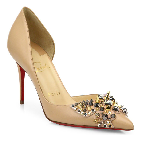 CHRISTIAN LOUBOUTIN farfa spikes 85 leather d'orsay pumps - Elegant leather d'Orsay style with edgy spiked bow....