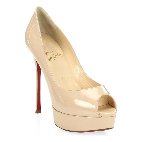 CHRISTIAN LOUBOUTIN fetish 130 patent leather peep toe pumps - Sultry patent leather peep-toe pump poised on island...