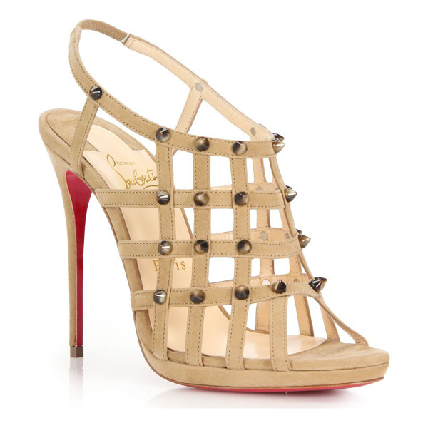 CHRISTIAN LOUBOUTIN Guinievre studded caged suede sandals - Strappy caged suede sandal finished with edgy...