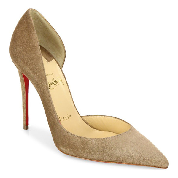 CHRISTIAN LOUBOUTIN iriza half d'orsay suede pumps - Alluring half d'Orsay silhouette in rich suede....