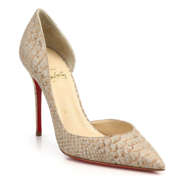 CHRISTIAN LOUBOUTIN Iriza snake-embossed leather d'orsay pumps - Expertly sculpted, elegant d'Orsay pumps updated by a...
