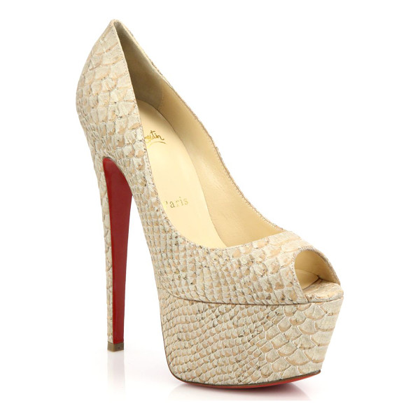 CHRISTIAN LOUBOUTIN Jamie snake-embossed leather peep-toe pumps - Towering bombshell pumps crafted from rich snake-embossed...