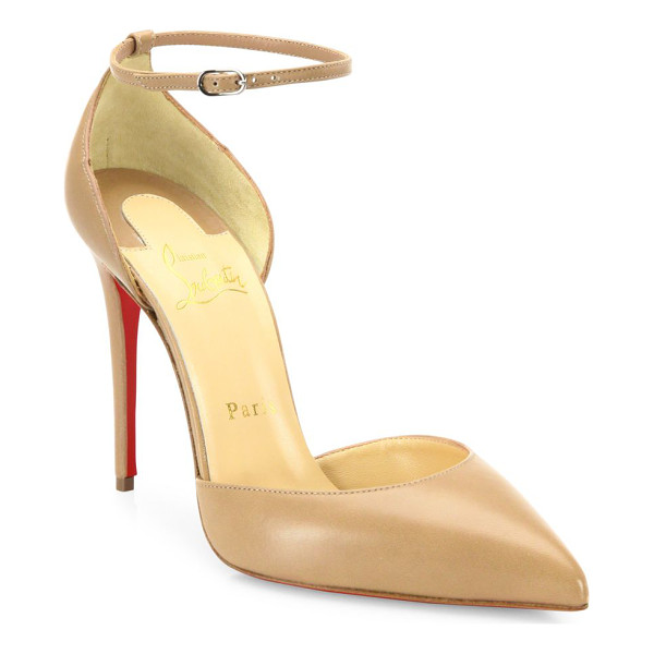 CHRISTIAN LOUBOUTIN leather ankle-strap pumps - Leather point-toe pump topped with feminine ankle strap....
