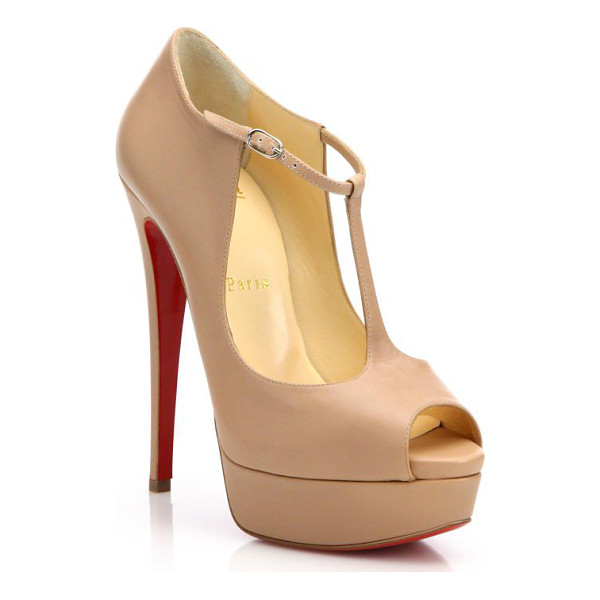 CHRISTIAN LOUBOUTIN leather peep toe platform pumps - Sky-high platform pumps in supple leather. Covered stiletto