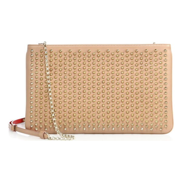 CHRISTIAN LOUBOUTIN loubiposh studded leather clutch - Streamlined clutch cast with shimmering stud detail.